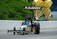 May 6, 2012; Commerce, GA, USA: NHRA top fuel dragster driver Tony Schumacher during the Southern Nationals at Atlanta Dragway. Mandatory Credit: Mark J. Rebilas-