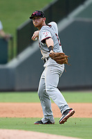 Shortstop Ryan Dorow (2) of the Hickory Crawdads plays defense in Game 1 of a doubleheader against the Greenville Drive on Wednesday, July 25, 2018, at Fluor Field at the West End in Greenville, South Carolina. Greenville won, 4-1. (Tom Priddy/Four Seam Images)