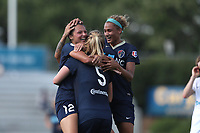 Cary, North Carolina  - Saturday June 03, 2017: Ashley Hatch celebrates her goal with Samantha Mewis and Lynn Williams during a regular season National Women's Soccer League (NWSL) match between the North Carolina Courage and the FC Kansas City at Sahlen's Stadium at WakeMed Soccer Park. The Courage won the game 2-0.