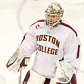 Brian Billett (BC - 1) - The Boston College Eagles defeated the Merrimack College Warriors 4-2 to give Head Coach Jerry York his 900th collegiate win on Friday, February 17, 2012, at Kelley Rink at Conte Forum in Chestnut Hill, Massachusetts.