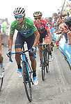 Green Jersey Alejandro Valverde (ESP) Movistar Team and race leader Red Jersey Simon Yates (GBR) Mitchelton-Scott on the final climb of Stage 17 of the La Vuelta 2018, running 157km from Getxo to Balcón de Bizkaia, Spain. 12th September 2018.                   <br /> Picture: Colin Flockton | Cyclefile<br /> <br /> <br /> All photos usage must carry mandatory copyright credit (© Cyclefile | Colin Flockton)