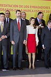 Spain's crown Prince Felipe and Princess Letizia pose with ambassador of the Brand Spain after a ceremony. February 12, 2013. (ALTERPHOTOS/Alvaro Hernandez)