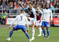 Burnley's Jeff Hendrick vies for possession with Cardiff City's Joe Bennett<br /> <br /> Photographer Rich Linley/CameraSport<br /> <br /> The Premier League - Saturday 13th April 2019 - Burnley v Cardiff City - Turf Moor - Burnley<br /> <br /> World Copyright © 2019 CameraSport. All rights reserved. 43 Linden Ave. Countesthorpe. Leicester. England. LE8 5PG - Tel: +44 (0) 116 277 4147 - admin@camerasport.com - www.camerasport.com