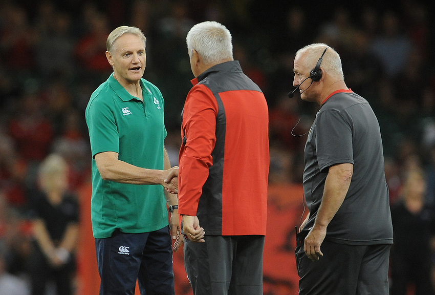 Head coach Joe Schmidt chats to Wales Head Coach Warren Gatland<br /> <br /> Photographer Ian Cook/CameraSport<br /> <br /> 2019 Under Armour Summer Series - Wales v Ireland - Saturday 31st August 2019 - Principality Stadium - Cardifff<br /> <br /> World Copyright © 2019 CameraSport. All rights reserved. 43 Linden Ave. Countesthorpe. Leicester. England. LE8 5PG - Tel: +44 (0) 116 277 4147 - admin@camerasport.com - www.camerasport.com