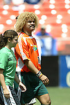 31 August 2004: Carlos Valderrama leads the World Stars out onto the field. The MLS USA Legends and MLS World Legends tied 2-2 at RFK Stadium in Washington, DC in the Major League Soccer Sierra Mist Celebration Game honoring the 10th anniversary of the FIFA World Cup 94 held in the United States. The game featured current and former MLS players that participated in the 1994 World Cup and World Cup Qualifying, and it was held prior to the 2004 MLS All-Star game..