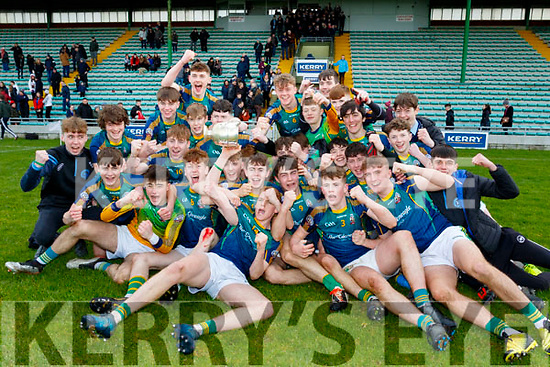 St Brendans collage Killarney celebrate their win in the Frewen Cup final against CBS The Green, Tralee at Austin Stack Park, Tralee last Wednesday Feb 26.