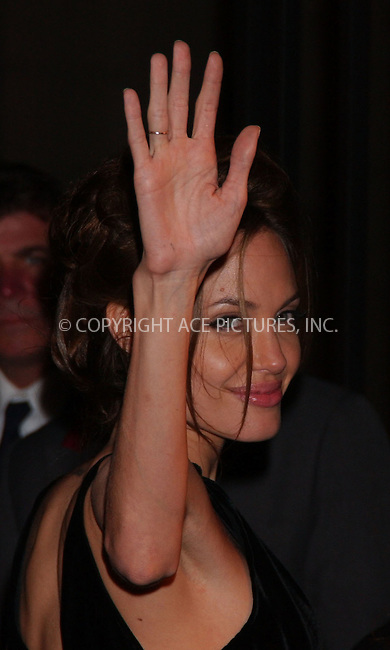 "WWW.ACEPIXS.COM . . . . .....June 12, 2007. New York City.....Actress Angelina Jolie attends the ""A Mighty Heart"" premiere after party held at the Metropolitan Club. ....Please byline: Kristin Callahan - ACEPIXS.COM..... *** ***..Ace Pictures, Inc:  ..Philip Vaughan (646) 769 0430..e-mail: info@acepixs.com..web: http://www.acepixs.com"