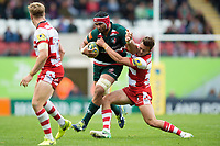 Sione Kalamafoni of Leicester Tigers fends Lloyd Evans of Gloucester Rugby. Aviva Premiership match, between Leicester Tigers and Gloucester Rugby on September 16, 2017 at Welford Road in Leicester, England. Photo by: Patrick Khachfe / JMP