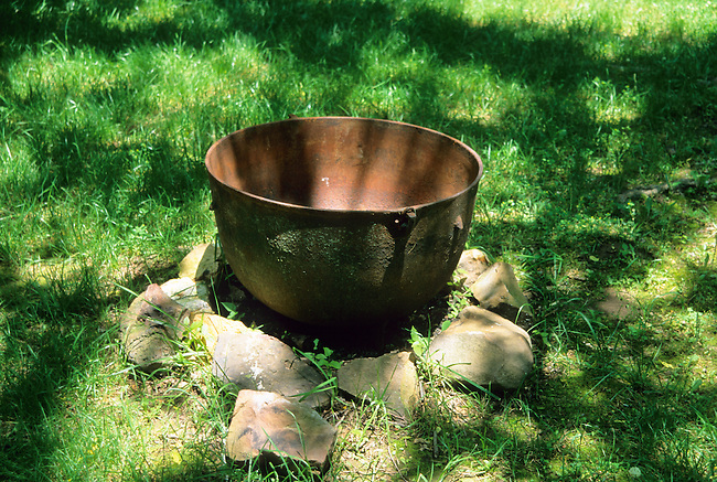 Copper trade kettles were brought to the new world by Europeans and were in very high demand by American Indians thereby becoming an important trade item.