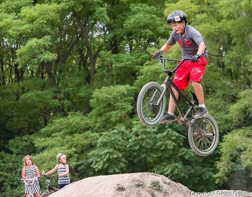 What goes up comes down as young bike riders make their way around the Kiwanis Club of Sarnia BMX Track located at Canatara Park. It has been especially busy at the track lately as riders crammed to get the last rides in for the summer.