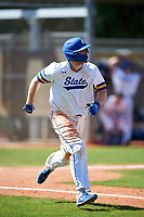 South Dakota State Jackrabbits catcher Derek Hackman (9) runs to first base during a game against the FIU Panthers on February 23, 2019 at North Charlotte Regional Park in Port Charlotte, Florida.  South Dakota State defeated FIU 4-3.  (Mike Janes/Four Seam Images)