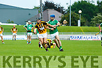 In Action Abbeydorney's Niall O'Mahoney  and Ballyduff's Anthony O'Carroll at the Garvey's Supervalu Senior County Hurling Championship - Round 1 Abbeydorney Vs Ballyduff at Austin Stack Park on Saturday