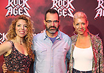 "Kristin Hanggi, Chris D'Arienzo and Kelly Devine during the tech rehearsal for ""Rock of Ages"" 10th Anniversary Production on June 13, 2019 at the New World Stages in New York City."