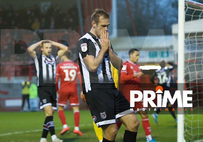 James Hanson of Grimsby Town shows his frustration after missing a good chance during the Sky Bet League 2 match between Crawley Town and Grimsby Town at The People's Pension Stadium, Crawley, England on 25 January 2020. Photo by Alan  Stanford / PRiME Media Images.