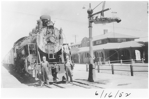 #804 with passenger train at Montrose with crew.<br /> D&amp;RGW  Montrose, CO  6/16/1952