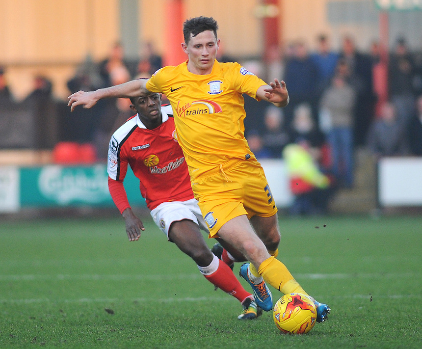 Preston North End's Alan Browne under pressure from Crewe Alexandra's Greg Leigh<br /> <br /> Photographer Kevin Barnes/CameraSport<br /> <br /> Football - The Football League Sky Bet League One - Crewe Alexandra v Preston North End - Sunday 28th December 2014 - Alexandra Stadium - Crewe<br /> <br /> &copy; CameraSport - 43 Linden Ave. Countesthorpe. Leicester. England. LE8 5PG - Tel: +44 (0) 116 277 4147 - admin@camerasport.com - www.camerasport.com