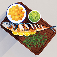 Serving board with cooked mackerel, potatoes, mushy peas and samphire ExclusiveImage