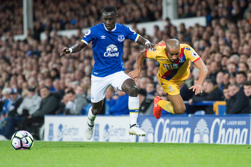 Crystal Palace's Andros Townsend is fouled by Everton's Idrissa Gueye <br /> <br /> Photographer Terry Donnelly/CameraSport<br /> <br /> The Premier League - Everton v Crystal Palace - Friday 30th September 2016 - Goodison Park - Liverpool<br /> <br /> World Copyright &copy; 2016 CameraSport. All rights reserved. 43 Linden Ave. Countesthorpe. Leicester. England. LE8 5PG - Tel: +44 (0) 116 277 4147 - admin@camerasport.com - www.camerasport.com