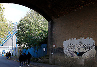 General view of the mural on approach to the stadium seen at the Sky Bet Championship match between Millwall and Birmingham City at The Den, London, England on 21 October 2017. Photo by Carlton Myrie.