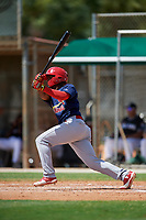 GCL Cardinals designated hitter William Jimenez (12) hits a single during a game against the GCL Marlins on August 4, 2018 at Roger Dean Chevrolet Stadium in Jupiter, Florida.  GCL Marlins defeated GCL Cardinals 6-3.  (Mike Janes/Four Seam Images)