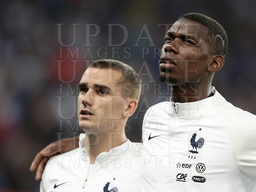 International friendly football match France vs Italy, Allianz Riviera, Nice, France, June 1, 2018. <br /> France's Paul Pogba (r) and Antoine Griezmann (l) sing the France national anthem prior to the international friendly football match between France and Italy at the Allianz Riviera in Nice on June 1, 2018.<br /> UPDATE IMAGES PRESS/Isabella Bonotto