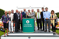 Connections of Keepers Choice receive their trophy from sponsors after winning the Sorvio Insurance Maiden Fillies' Stakes, during Afternoon Racing at Salisbury Racecourse on 7th August 2017