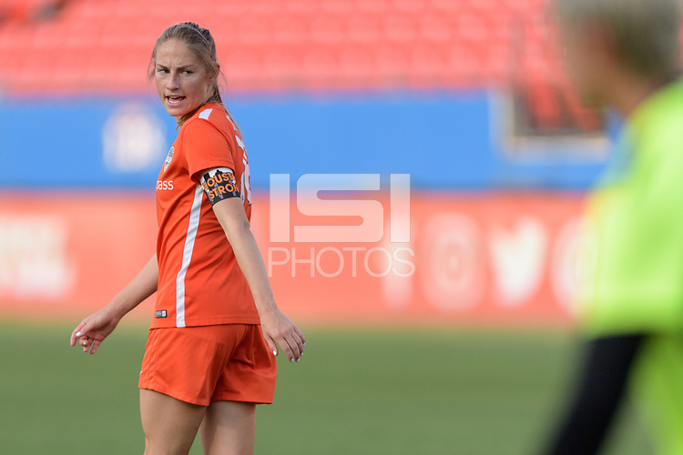 Frisco, TX - Sunday September 03, 2017: Janine Beckie warming up during a regular season National Women's Soccer League (NWSL) match between the Houston Dash and the Seattle Reign FC at Toyota Stadium in Frisco Texas. The match was moved to Toyota Stadium in Frisco Texas due to Hurricane Harvey hitting Houston Texas.