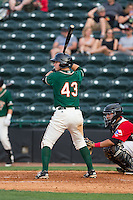 Brian Schales (43) of the Greensboro Grasshoppers at bat against the Hickory Crawdads at L.P. Frans Stadium on May 6, 2015 in Hickory, North Carolina.  The Crawdads defeated the Grasshoppers 1-0.  (Brian Westerholt/Four Seam Images)
