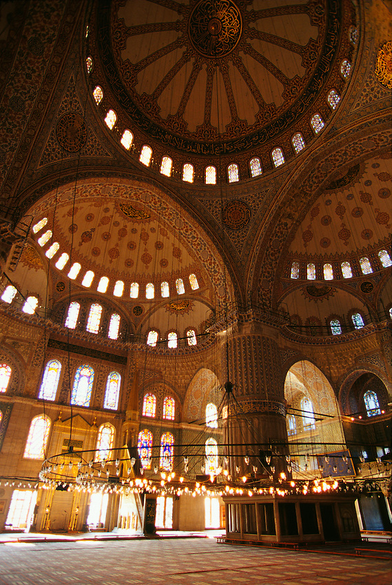 Interior of the Blue Mosque (Sultan Ahmet Cami), Istanbul, Turkey