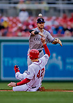 15 April 2018: Colorado Rockies shortstop Trevor Story turns a double-play in the 2nd inning against the Washington Nationals at Nationals Park in Washington, DC. All MLB players wore Number 42 to commemorate the life of Jackie Robinson and to celebrate Black Heritage Day in pro baseball. The Rockies edged out the Nationals 6-5 to take the final game of their 4-game series. Mandatory Credit: Ed Wolfstein Photo *** RAW (NEF) Image File Available ***