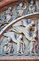 West portal lunette relief sculptures depicting  angels  on the Romanesque Baptistery of Parma, circa 1196, (Battistero di Parma), Italy
