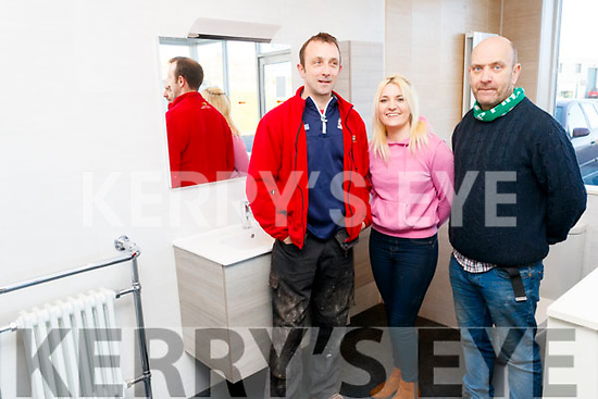 Eoin Curran (Eoin Curran Plumbing and Heating), Samantha Martin and Brian O'Connell (DPL), pictured at the DPL Trade Show, in Monavalley, Tralee, on Wednesday morning last.