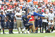Washington, DC - September 16, 2016: Hampton Pirates defensive back Robert Scott (11) breaks up a pass during game between Hampton and Howard at  RFK Stadium in Washington, DC. September 16, 2016.  (Photo by Elliott Brown/Media Images International)