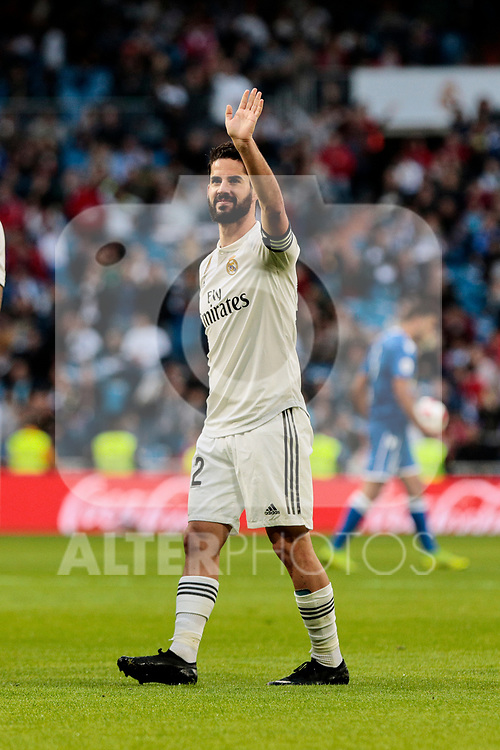 Real Madrid's Francisco Alarcon 'Isco' celebrates goal during Copa del Rey match between Real Madrid and UD Melilla at Santiago Bernabeu Stadium in Madrid, Spain. December 06, 2018. (ALTERPHOTOS/A. Perez Meca)