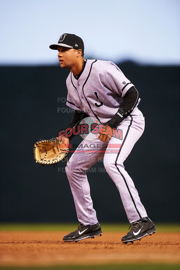 Jacksonville Suns first baseman Viosergy Rosa (44) during a game against the Chattanooga Lookouts on April 30, 2015 at AT&T Field in Chattanooga, Tennessee.  Jacksonville defeated Chattanooga 6-4.  (Mike Janes/Four Seam Images)