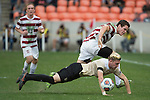 HOUSTON, TX - DECEMBER 11:  Foster Langsdorf (2) of Stanford University and Sam Raben (26) of Wake Forest University compete for the ball during the Division I Men's Soccer Championship held at the BBVA Compass Stadium on December 11, 2016 in Houston, Texas.  Stanford defeated Wake Forest 1-0 in a penalty shootout for the national title. (Photo by Justin Tafoya/NCAA Photos via Getty Images)