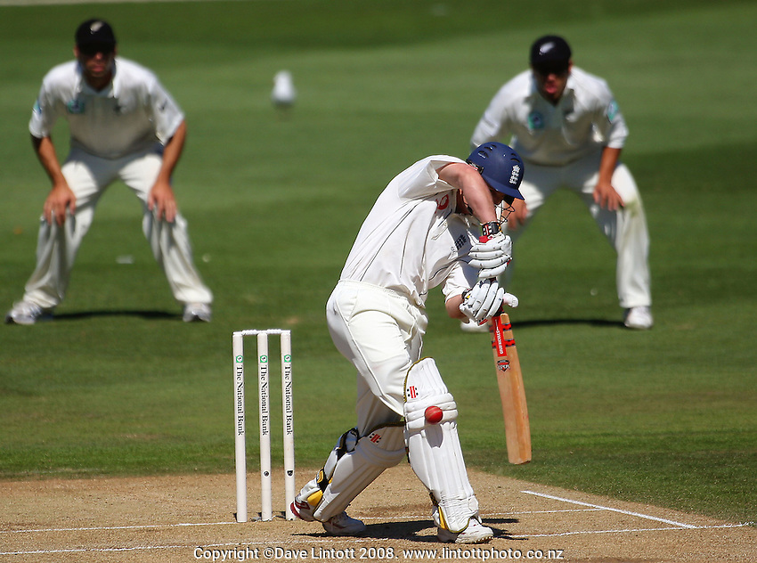 Andrew Strauss plays and misses as Stephen Fleming and Ross Taylor watch from the slips. National Bank Test Match Series, New Zealand v England, 2nd Test at Allied Prime Basin Reserve, Wellington, New Zealand. Day 3. Saturday, 15 March 2008. Photo: Dave Lintott / lintottphoto.co.nz