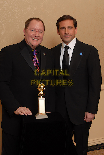 """JOHN LASSETER & STEVE CARELL.Best Animated Film award for """"Cars"""" .Pressroom - 64th Annual Golden Globe Awards, Beverly Hills HIlton, Beverly Hills, California, USA..January 15th 2007. .globes press room half length award trophy black suit jacket studio.CAP/AW.Please use accompanying story.Supplied by Capital Pictures.© HFPA"""" and """"64th Golden Globe Awards"""""""