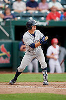 San Antonio Missions second baseman Luis Urias (3) squares around to bunt during a game against the Springfield Cardinals on June 4, 2017 at Hammons Field in Springfield, Missouri.  San Antonio defeated Springfield 6-1.  (Mike Janes/Four Seam Images)