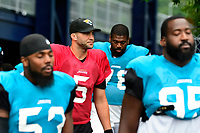August 8, 2017: Jacksonville Jaguars quarterback Blake Bortles (5) makes his way to the practice fields at the New England Patriots training camp held at Gillette Stadium, in Foxborough, Massachusetts.  The Patriots are hosting the Jaguars at camp leading up to their preseason game. Eric Canha/CSM