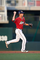 Fort Myers Miracle second baseman Ryan Walker (16) throws to first after fielding a ground ball during a game against the Daytona Tortugas on June 17, 2015 at Hammond Stadium in Fort Myers, Florida.  Fort Myers defeated Daytona 9-5.  (Mike Janes/Four Seam Images)