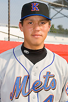 Wilmer Flores (4) of the Kingsport Mets at Howard Johnson Field in Johnson City, TN, Thursday July 3, 2008.