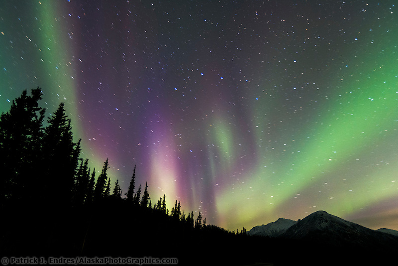 Aurora borealis over Wiseman spur road, Brooks mountain range, Arctic, Alaska.