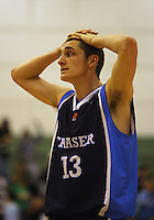 Fraser College captain Matthew Aird reflects on the loss during the NZ Secondary Schools Basketball Championships match between Fraser High School and St Patricks College at Arena Manawatu, Palmerston North, New Zealand on Saturday 4 October 2008. Photo: Dave Lintott / lintottphoto.co.nz