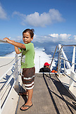 FRENCH POLYNESIA, Moorea. Dushan on the Ferry ride to Papeete, Tahiti.