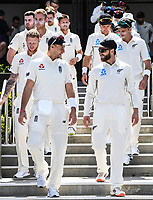 21st November 2019; Mt Maunganui, New Zealand;  Joe Root and Kane Williamson on international test match cricket, Day 1, New Zealand versus England at Bay Oval, Mt Maunganui, New Zealand.