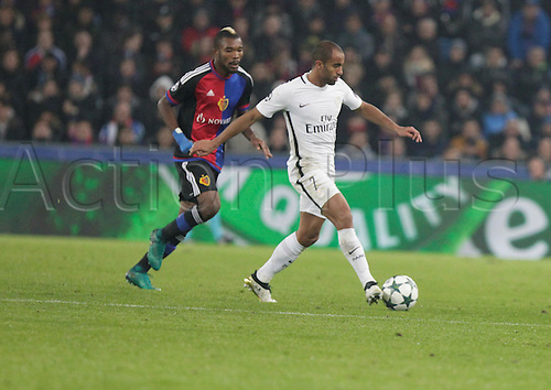 01/11/2016. Basel, Switzerland. Lucas (Paris Saint Germain) in action during the champions league match against FC Basel Paris Saint Germain at St. Jakob Park in Basel, Switzerland