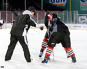 Linda Lundrigan (NU - Co-Head Coach) - The Northeastern University Huskies practice on the ice at Fenway Park on Thursday, January 7, 2010, in Boston, Massachusetts.