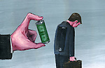 Illustrative image of hand holding battery with tired businessman representing motivation