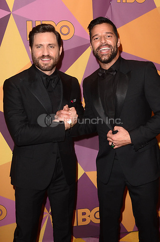 BEVERLY HILLS, CA - JANUARY 7: Edgar Ramirez, Ricky Martin at the HBO Golden Globes After Party, Beverly Hilton, Beverly Hills, California on January 7, 2018. Credit: <br /> David Edwards/MediaPunch